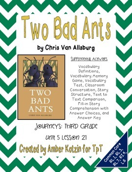 Two Bad Ants Activities 3rd Grade Journeys Unit 5, Lesson
