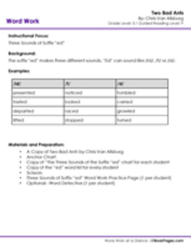 Two Bad Ants Lesson Plans & Activities Package, Third  Grade (CCSS)