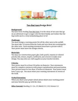 Two Bad Ants STEM Children's Engineering Design Brief