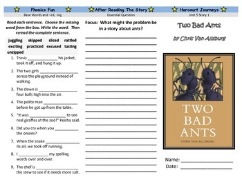 Two Bad Ants Trifold - Harcourt Journeys: Grade 3, Unit 5,