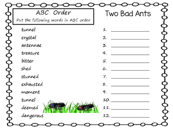 Two Bad Ants  by Chris Van Allsburg ~ 42 pgs Common Core Activities