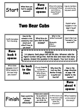 """""""Two Bear Cubs"""" Comprehension Game Board- Journeys story 3rd grade"""