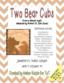 Two Bear Cubs Supplemental Activities 3rd Grade Journeys Unit 4, Lesson 19