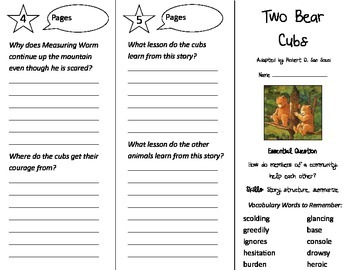 Two Bear Cubs Trifold - Journeys 3rd Grade Unit 4 Week 4 (2014, 2017)