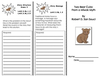 Two Bear Cubs tri-fold/ 3rd Grade Journeys HMH Common Core