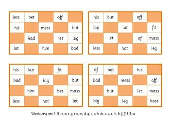 Two Bingo Games: Phonics Phase 2- Words using sets 1–5.