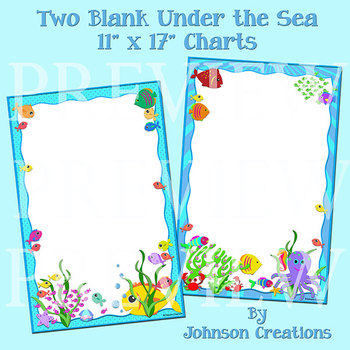 """Two Blank Under the Sea 11"""" x 17"""" Charts"""