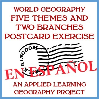 Two Branches and Five Themes of Geography (MR LIP) Postcards Exercise - SPANISH