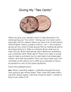 Two Cents Discussion Activity