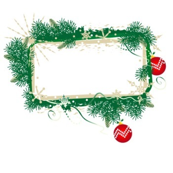 Two Christmas Frames with Balls and Branches, Commercial Use Allowed