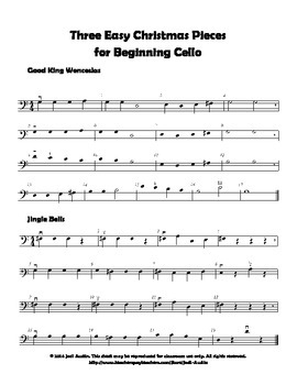 Three Easy Christmas Pieces for Beginning Cello (sheet music)