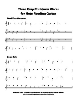 Three Easy Christmas Pieces For Note Reading Guitar Sheet Music