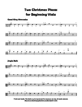 Two Christmas Pieces for Beginning Viola (sheet music)