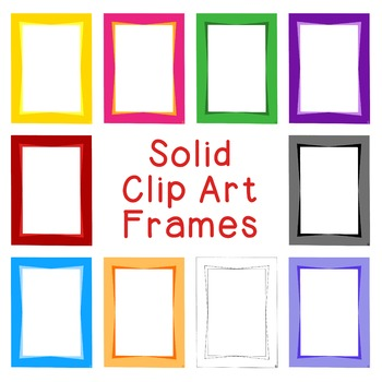 Two Color Frames Clip Art PNG JPG Blackline Included Comme
