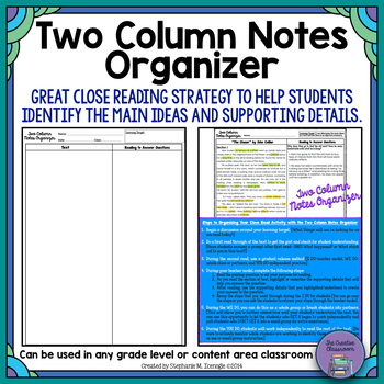 Two Column Notes Organizer: Identifying Main Ideas and Supporting Details