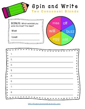 Two Consonant Blend Practice and Word Work