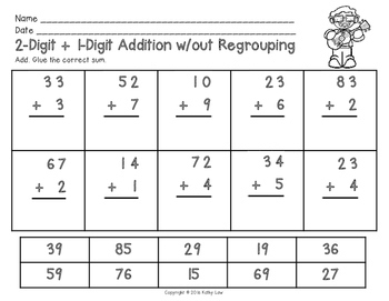 Two-Digit and One-Digit Addition w/out Regrouping Task Cards