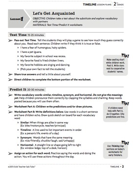 Sub Plans for Two days/Grade 2: Vocabulary Sub Tubs®