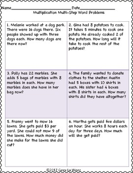 Multi-Step Multiplication Word Problems Worksheets