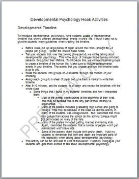 Developmental Psychology Hook Activities (Two)