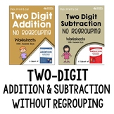 Two Digit Addition And Subtraction Without Regrouping Worksheets