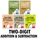 2 Digit Addition And Subtraction Worksheets With Regrouping, No Borrowing Bundle