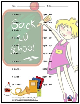 Two Digit Addition - Back to School Themed Worksheets - Horizontal
