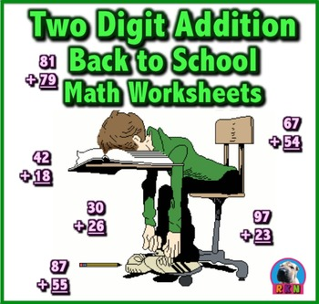 Two Digit Addition - Back to School Themed Worksheets - Vertical