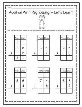 Two--Digit Addition Beginners Packet (With and Without Regrouping)