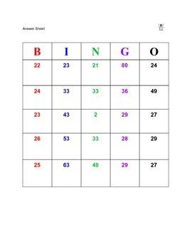 Two Digit Addition Bingo