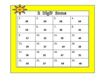 Two Digit Addition Cards