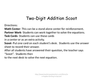 2 Digit Addition Scoot/Task Cards- Two Sets With and Without Regrouping
