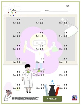 Two Digit Addition Worksheets - Community Worker/Career Themed (Vertical)