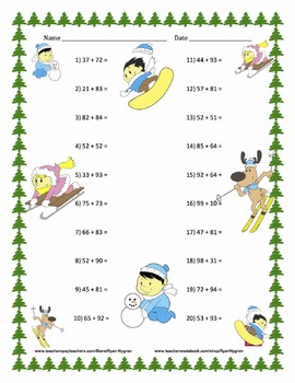 Two Digit Addition - Christmas Themed Worksheets - Horizontal