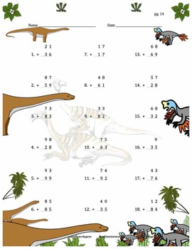 Two Digit Addition - Dinosaur Themed Worksheets - Vertical