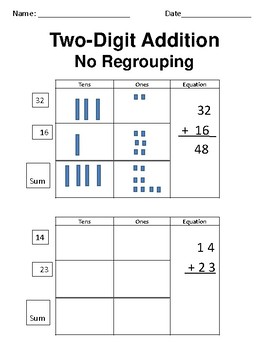 Two-Digit Addition Drawing- with and without regrouping