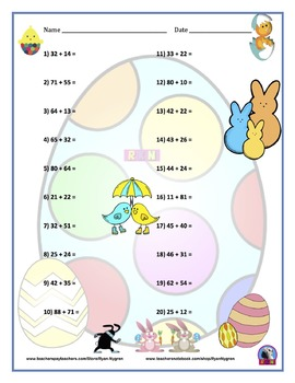Two Digit Addition - Easter Themed Worksheets - Horizontal