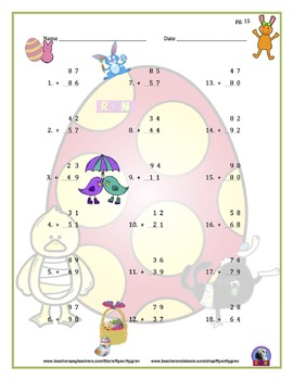 Two Digit Addition - Easter Themed Worksheets - Vertical