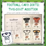 Two Digit Addition:  Four Football-Themed Card Sorts