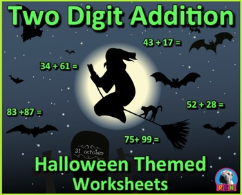Two Digit Addition - Halloween Themed Worksheets - Horizontal