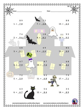 Two Digit Addition - Halloween Themed Worksheets - Vertical
