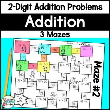 Addition Mazes - No Prep Two-Digit Addition
