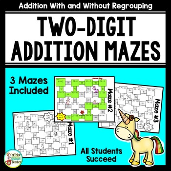 Addition Two-Digit Mazes - No Prep & Every Student Succeeds!