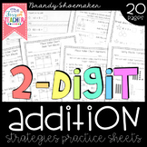 Two-Digit Addition Strategies Practice Sheets
