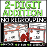 Two-Digit Addition NO regrouping task cards (Dinosaur theme)
