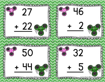 Two-Digit Addition NO regrouping task cards (Fidget Spinner theme)