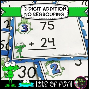 Two-Digit Addition NO regrouping task cards (Frog theme)