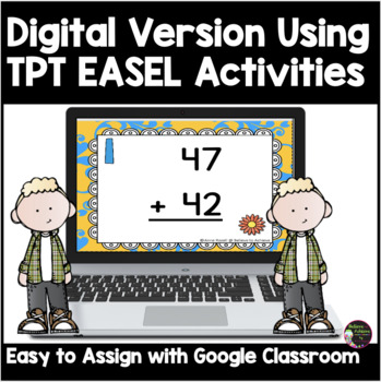 Two-Digit Addition NO regrouping task cards (Spring theme)