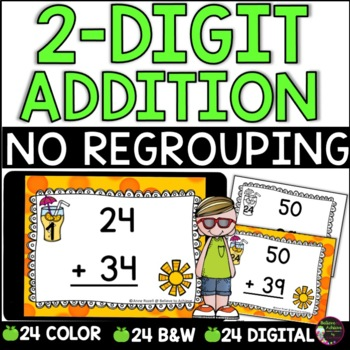 Two-Digit Addition NO regrouping task cards (Summer theme)