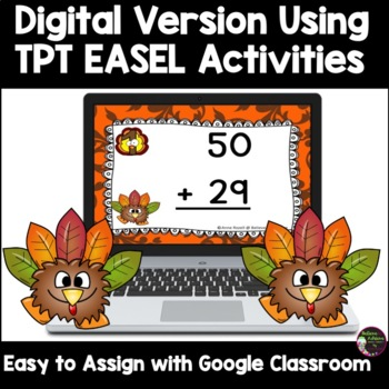 Two-Digit Addition NO regrouping task cards (Thanksgiving theme)